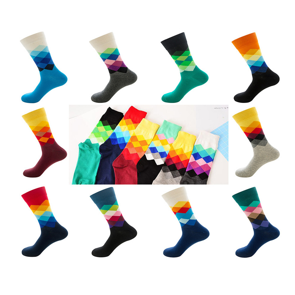 Men's Funny Happy Socks Fine Paragraph Diamond Pattern Argyle Three-dimensional Tube Geometric Funny Large Size Combed Cotton