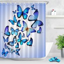 Butterfly Pattern Printed Shower Curtain with Hooks Bathroom Colorful Multi-size Printed Shower Curtain For Bathroom Decoration christmas log cabin snowmen tree printed shower curtain