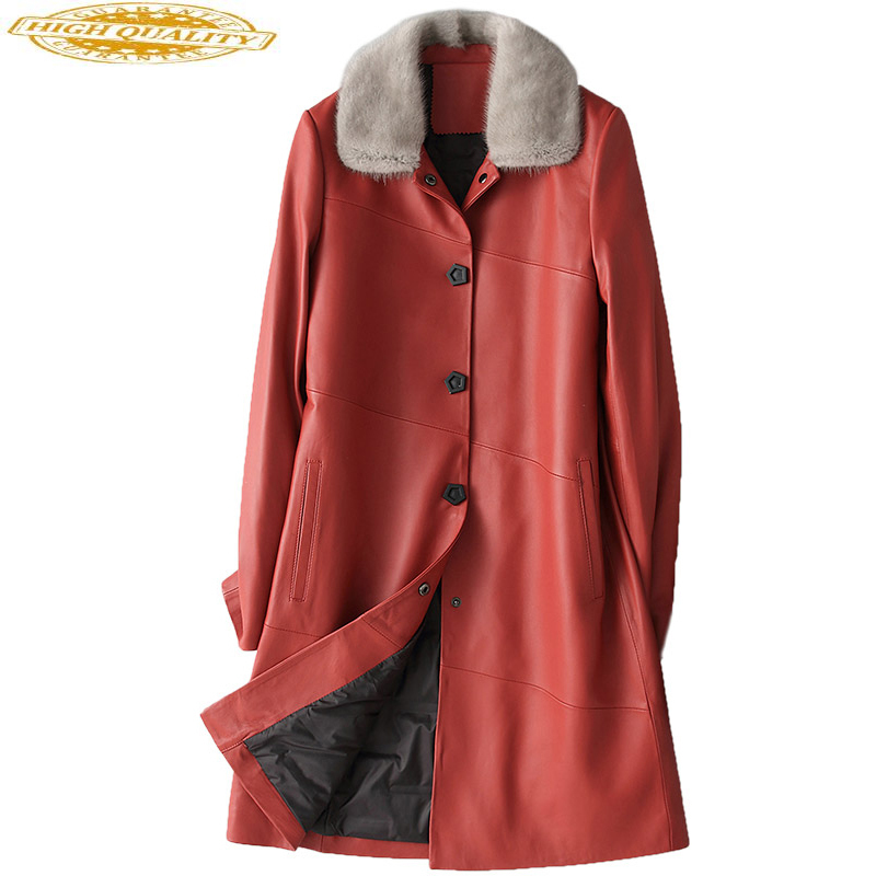 Genuine Leather Jacket Red Real Sheepskin Coat Female Natural Mink Fur Collar Women's Winter Down Jackets 28028 WYQ2086
