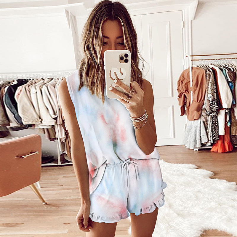 Tie-dye Pajamas Sets Women Summer 2020 Casual O Neck Sleeveless Loose Tank+Waist Drawstring Ruffle Shorts Ladies Two Piece Suits