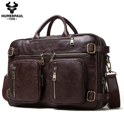 2020 Genuine Leather Men's Business Briefcase Multifunction Male Messenger Bag Laptop Tote Capacity Business Office Bags for Men