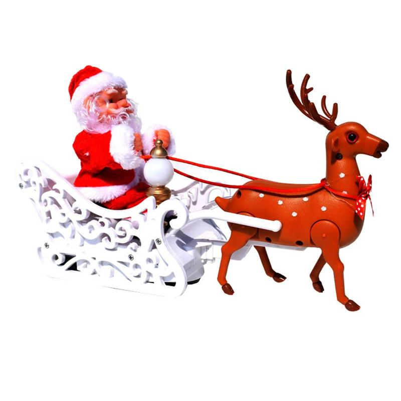 Electric Santa Claus Music Deer Pull The Car Christmas Children's Toys Interactive Speaking Moving Creative Toy For Child