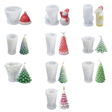 N58F Christmas Aromatherapy Candle Mold Diy Santa Claus Christmas Tree Plaster Handmade Soap Silicone Mold for Home Decor