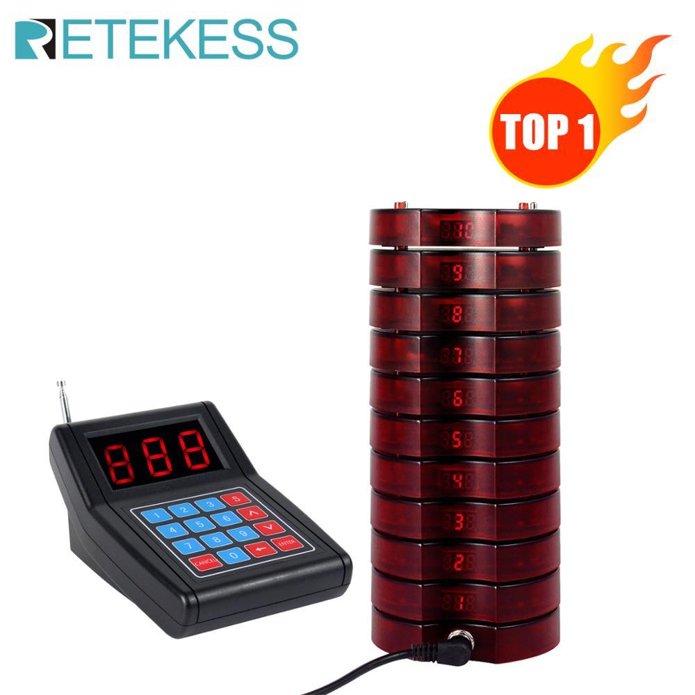 Système d'appel sans fil 999 canaux de Restaurant de téléavertisseur de SU-668 de RETEKESS avec 10 téléavertisseurs de serveur appellent le client pour le restaurant