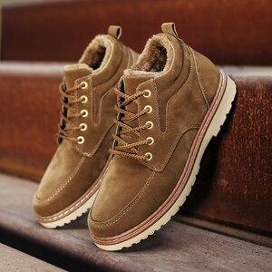 Image 3 - Hommes chaussures bottes dhiver hommes Nubuck cuir imperméable ajouter coton garder au chaud bois terre chaussures fond épais antidérapant Chelsea bottes