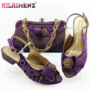 Image 2 - Comfortable Heels African Women Shoes and Bag to Match in Royal Blue Color Italian Style with Evening Bag Matching Shoes and Bag