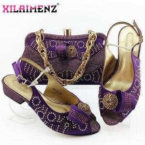 Image 2 - Zapatos de tacón cómodos para mujer africana y bolso que combinan con el estilo italiano en Color azul real, zapatos de noche y bolso a juego
