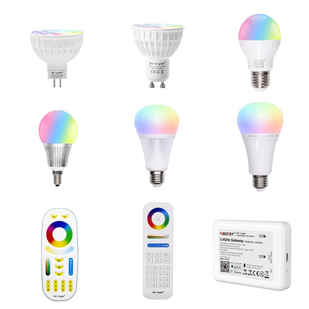 Приглушаемая Светодиодная лампа Mi Light 4 Вт GU10 RGB CCT E27, светодиодная лампа для внутреннего декора, радиочастотсветодиодный светодиодный пульт...