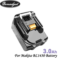 Bonadget 14.4V 3000mAh BL1430 Li-ion Replacement Battery For Makita BL1430 194065-3 194066-1 194558-0 BL1415 Power Tools Battery