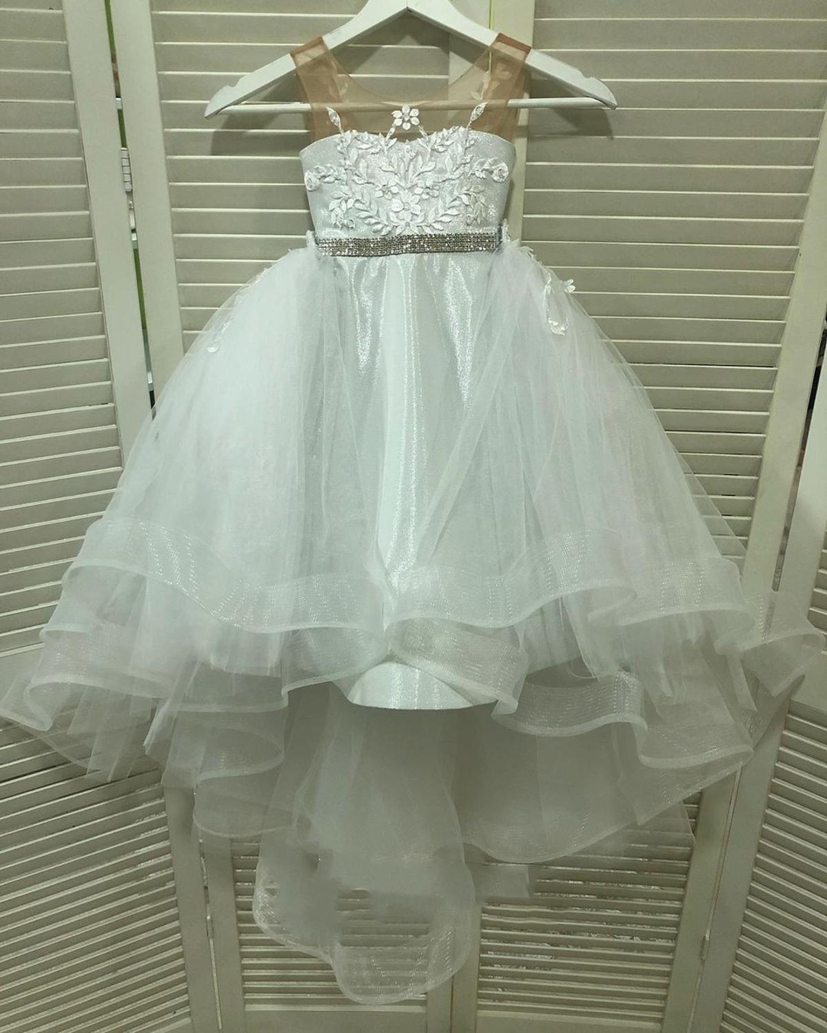 New Arrival White Soft Sweet Kid Flower Girl Dresses Lace Mesh Evening Gowns For Wedding Communion Dresses Vestido