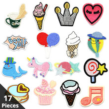 17pcs Mixed Cartoon Patch Cute Sticker for Clothing Embroidered Iron on Accessories Sewing Patches Clothes Stranger Things