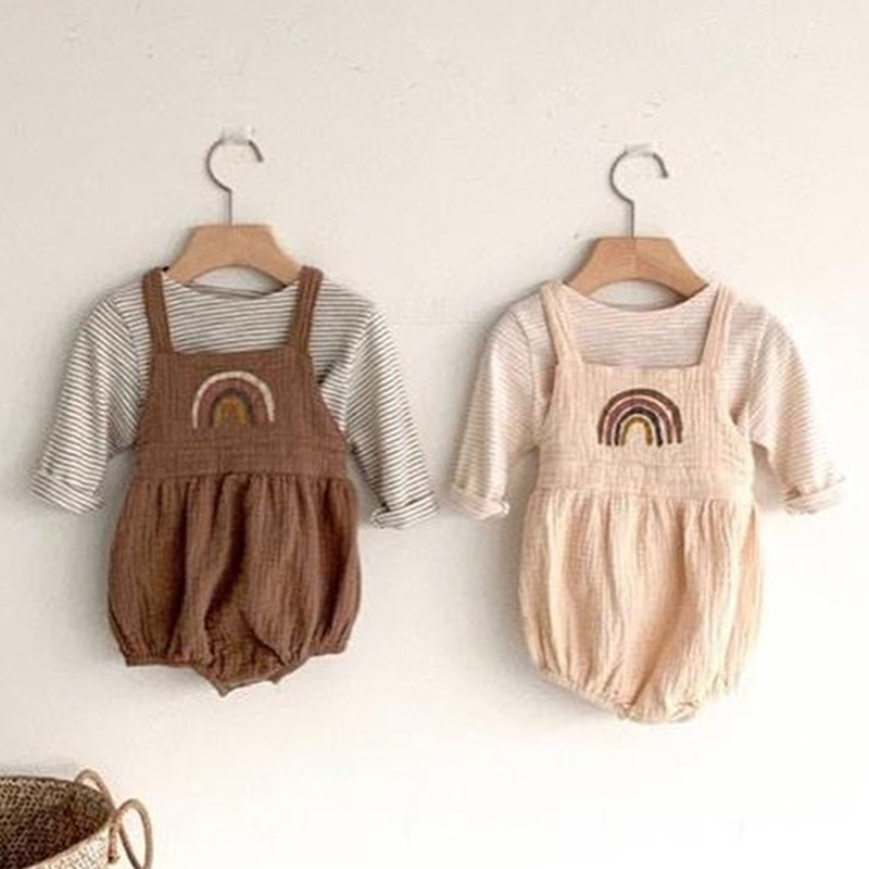 Infant Clothing Set Baby Striped Long Sleeve T Shirt + Bodysuit Kids Boys Girls Overalls Newborn Clothing Sets Baby Jumpsuit