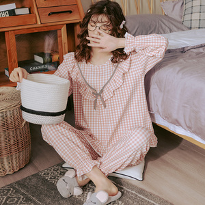 Image 1 - BZEL Cotton Checked Pajamas Womens Fashion Sleepwear Sets Cute Pink Pijamas Round Neck Femme Pyjamas Plus Size Nightwear M XXXL