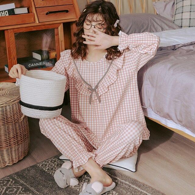 Bzel綿チェックパジャマ女性のファッションパジャマセットかわいいピンクpijamasラウンドネックファムパジャマプラスサイズナイトウェアM XXXL