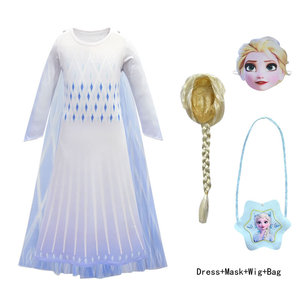 White Elsa Anna 2 Cosplay Costume For Girl Dress Snow Queen Elza 2020 Kid Lace Party Frock Child Disguise Up Tunic Cloth 11 Year(China)