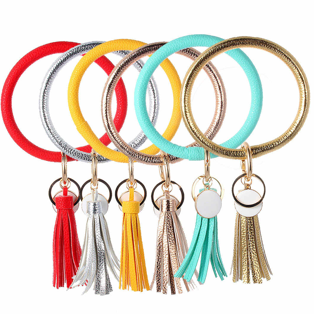 Fashion Trend Simple Large Leather Bracelet Tassel Keychain Jewelry Wear Keychain Wrist Strap Accessories Wholesale Diy Decor