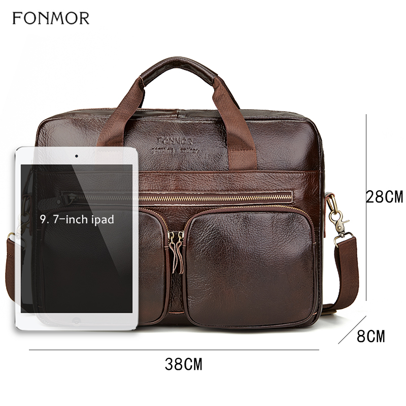 Image 2 - Fonmor Genuine Leather Briefcase For Men Cowhide Big Totes  Handbag Male Brown Business 14 laptop Hand Bags With Zipper  PocketTop-Handle Bags