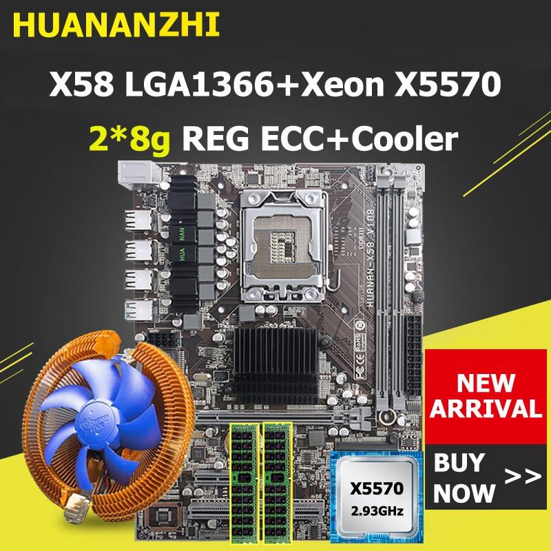 HUANANZHI X58 Motherboard CPU RAM Combo Discount X58 LGA1366 Motherboard With CPU Xeon X5570 With Cooler RAM 16G(2*8G) REG ECC