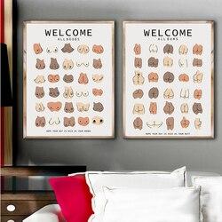 Забавная красочная Настенная картина для ванной комнаты с изображением всех рас тела, груди, холста, постеры и принты, картины для гостиной