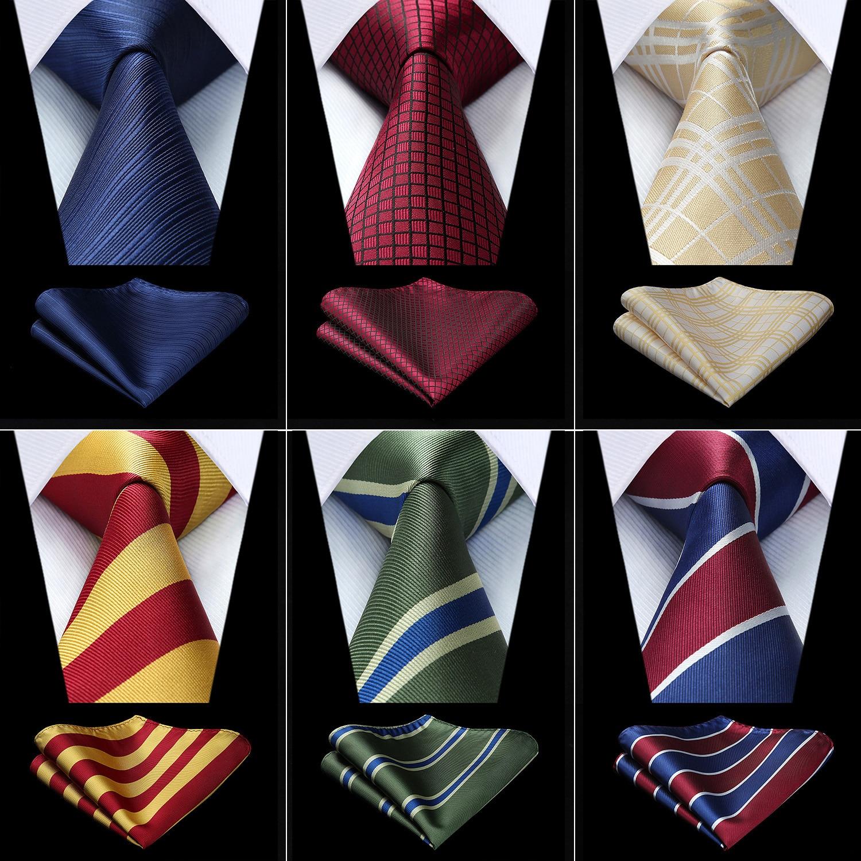Party Wedding Men's Classic Plaid Check Polka Dot Woven Silk Necktie Handkerchief Set
