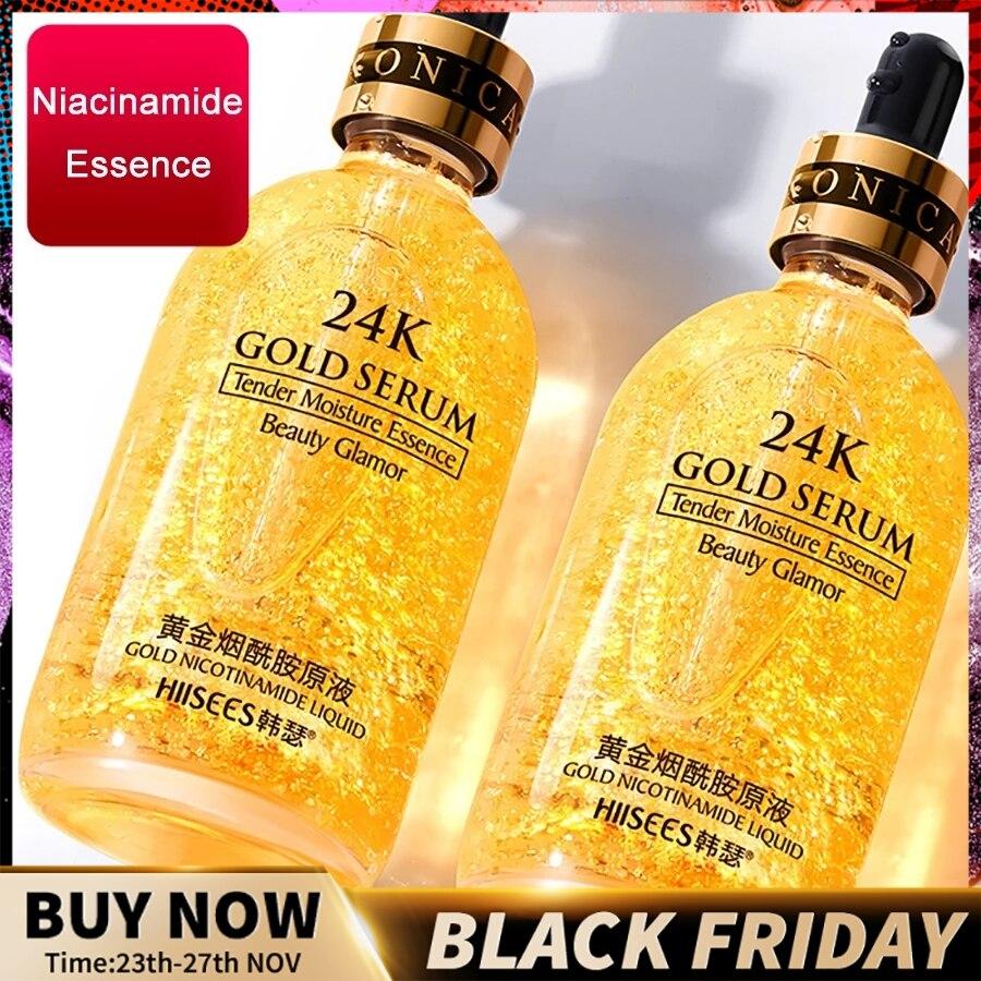 24k ouro rosto soro ácido hialurônico hidratante essência creme clareamento dia cremes anti envelhecimento anti rugas acne arte Soro    -