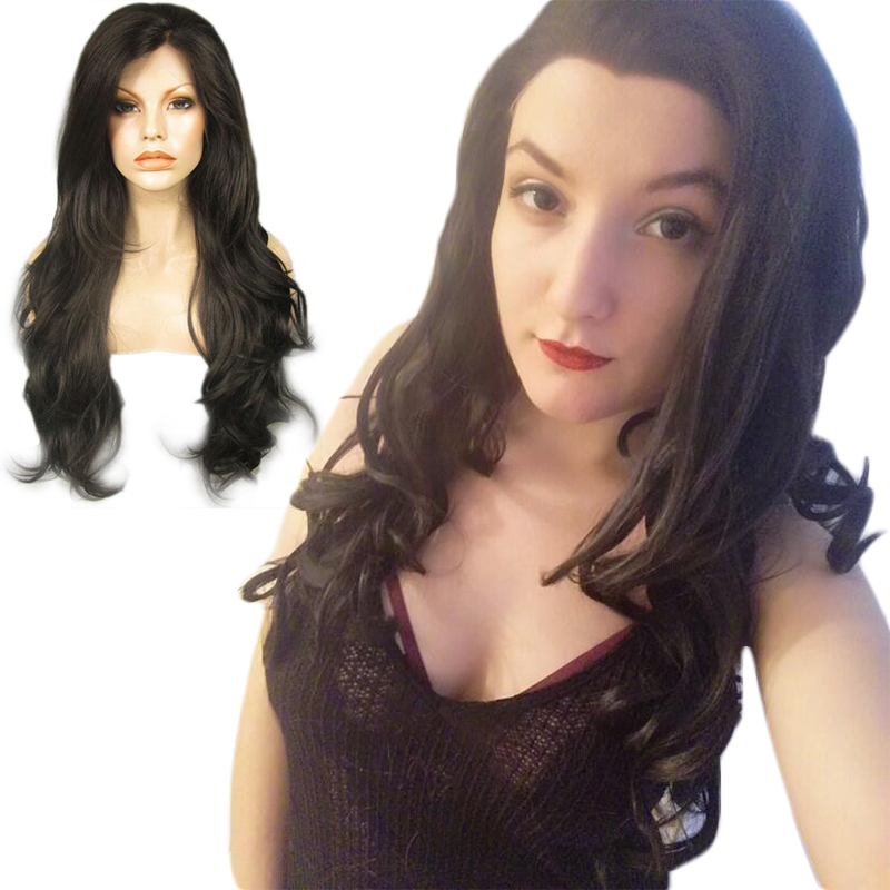 Anogol Long Natural Wave Black Brown Synthetic Lace Front Wig Side Part Glueless High Temperature Fiber Hair Wigs for Drag Queen