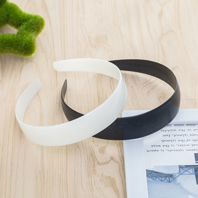 5pcs 3.8/4.8cm White Black Plastic Wide Headband Flat Bezel For DIY Jewelry Making Accessory Hairbands Base Setting Simple Style