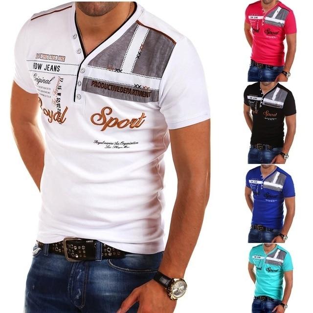 ZOGAA Men's Street Fashion Top Short Sleeved Polo Shirt Letter Printed Slim Fit Men Clothing VNeck Cotton Polo Shirts Brands Men