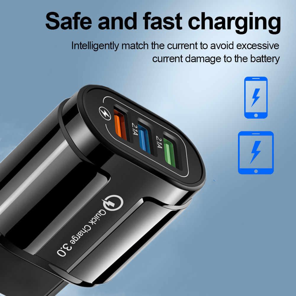 USB Charger Ponsel Charger Perjalanan Dinding Pengisian Cepat 3.0 4.0 3.1A Cepat Pengisian Adaptor untuk Samsung Iphone Tablet Charger
