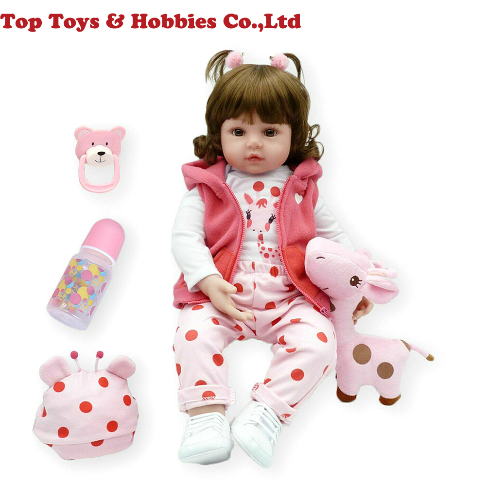 48cm Reborn bébé vinyle souple Silicone à la main réaliste grands yeux poupées cadeau de noël