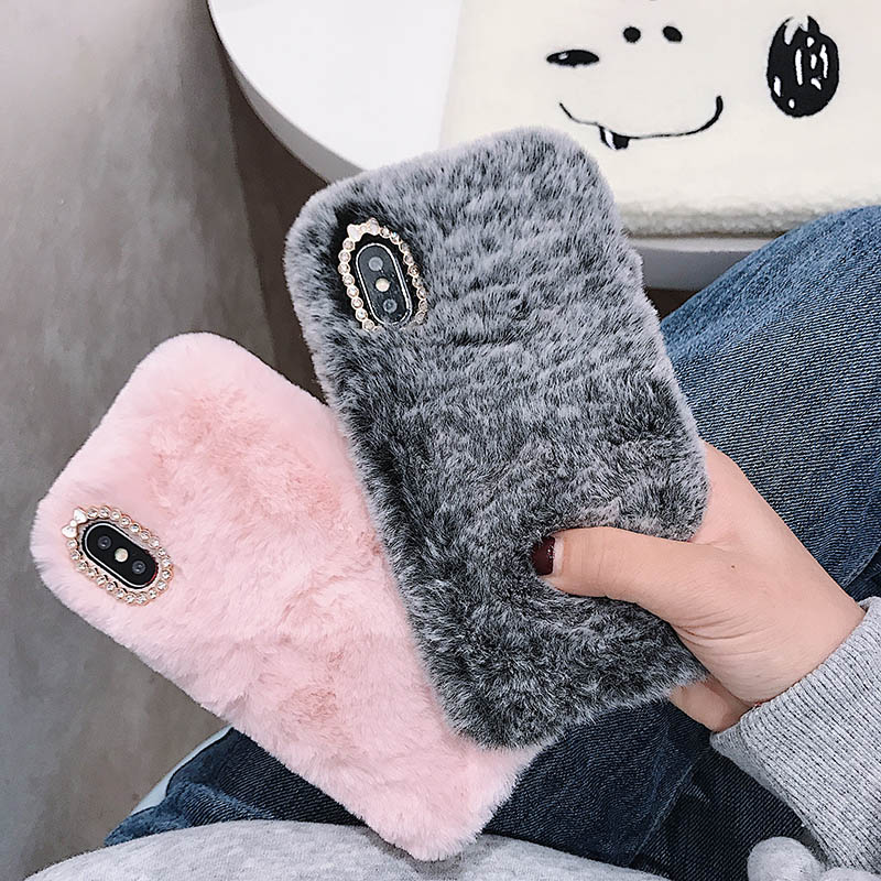 Plush Crystal Phone Case For Huawei Honor 4 4A 4C 5A 5C 6X 7A Mate 9 Lite GR5 2017 Enjoy 8E Warm Fur Diamond Soft Silicone Cover