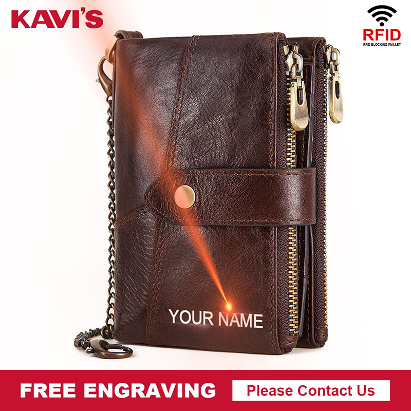 KAVIS Brand Free Engraving Genuine Leather Wallet Men Crazy Horse Wallets Coin Purse Short Male Money Bag Rfid Walet Quality