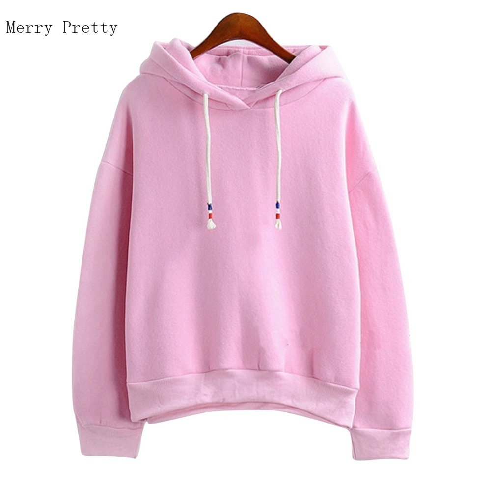 Women Hoodies Sweatshirts New Hot Sale Candy 10 Color Long Sleeved Thick Casual All-match Solid Leisure Hooded Hoodie Loose Tops