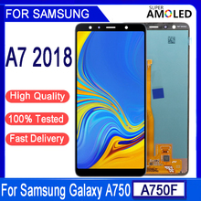 الأصلي 6.0 AMOLED LCD لسامسونج غالاكسي A7 2018 A750 SM A750F شاشة LCD مع شاشة تعمل باللمس الجمعية جزء لسامسونج A750