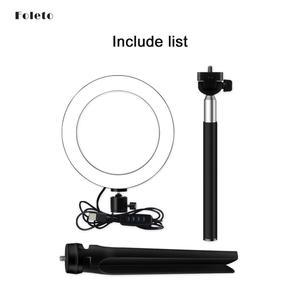Image 5 - Foleto 16cm LED Selfie sopa halka ışık fotoğrafçılığı makyaj halka lamba ile telefon tutucu için USB fişi canlı akışı Youtube Video