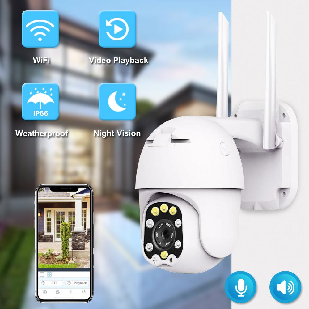 1080P PTZ IP Wifi Della Macchina Fotografica Esterna Della Cupola Telecamera di Sicurezza Wireless Pan Tilt Zoom Digitale 2MP di Rete CCTV Telecamera di Sorveglianza IP66