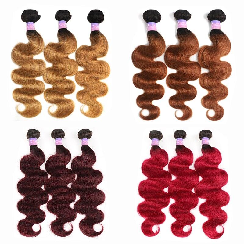 1B 27 30 Body Wave Brazilian Human Hair Bundles Ombre Blonde Brown Hair Weave Bundles 3/4 PCS Non-Remy Hair Extension KEMY HAIR