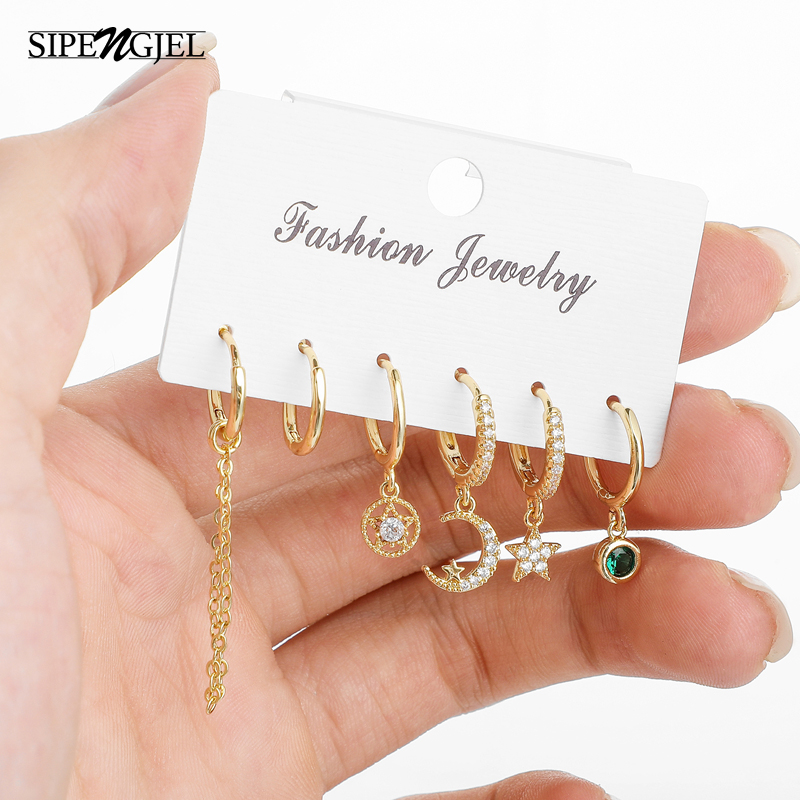 New Fashion Clssic Star And Moon Small Hoop Gold Earrings Set Ladies...