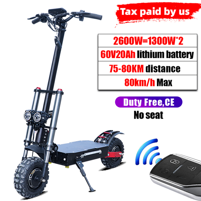 80KM//H Powerful Electric Scooters Adults 60V 3200W 11inch Off Road Fat tire Dual