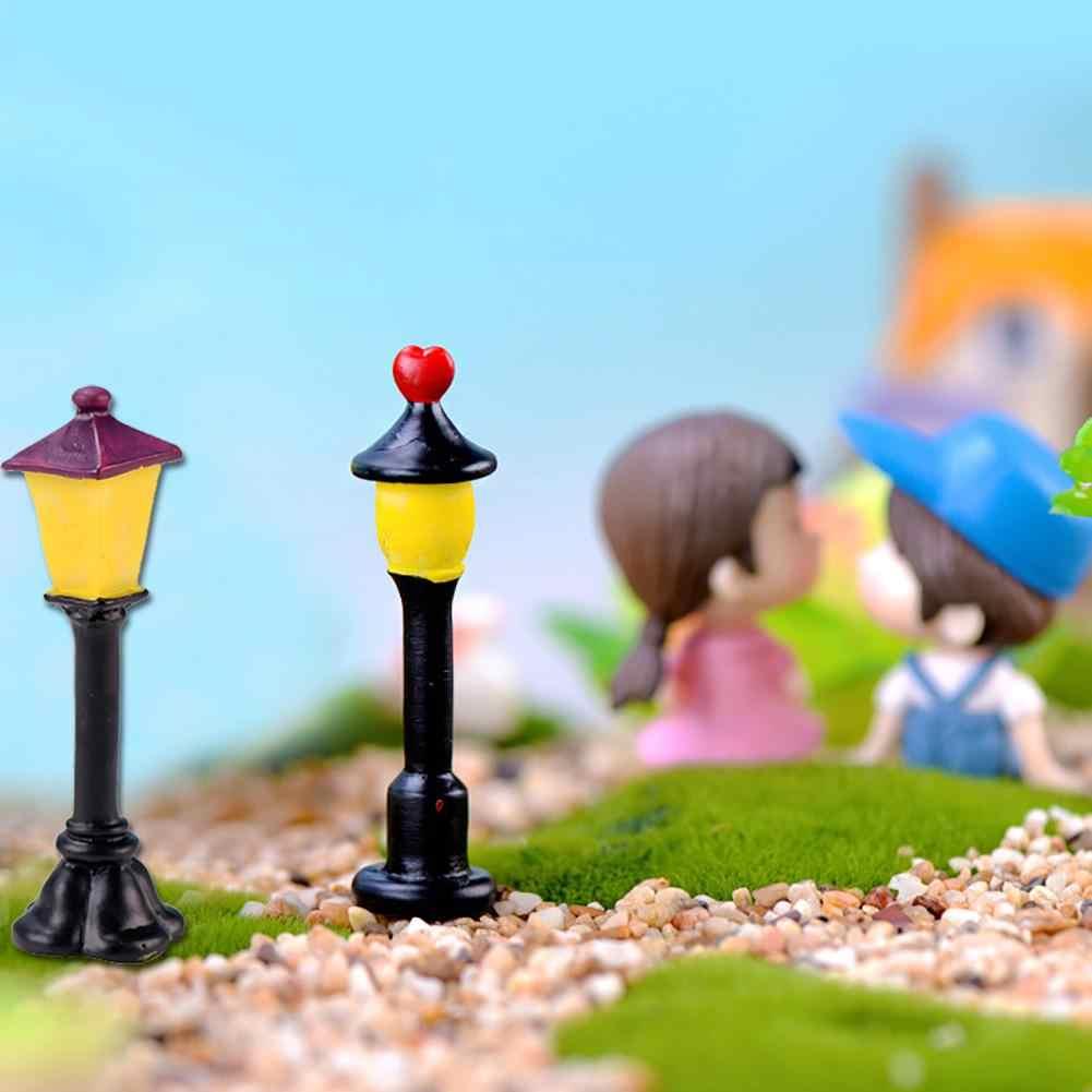 1 adet reçine el sanatları Mini sokak lambası heykelcik Tiny bahçe noel Bonsai dekor