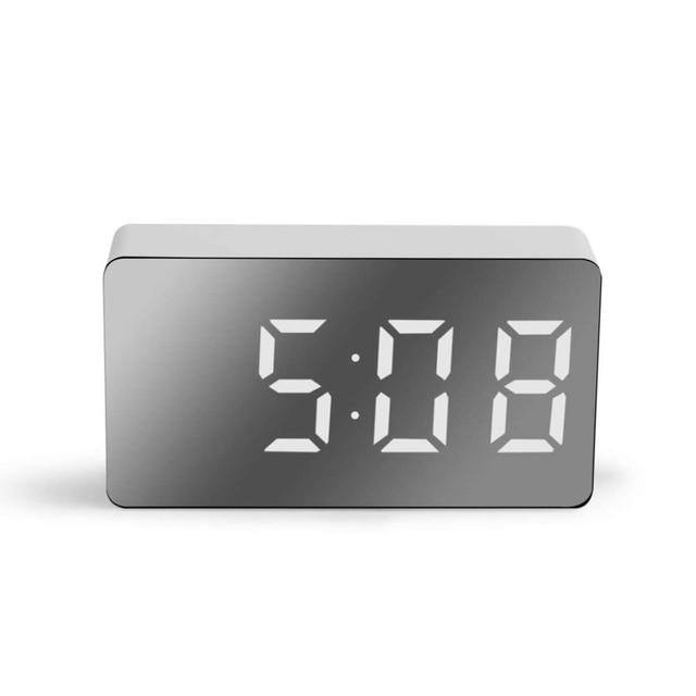 LED Mirror Digital Clock Alarm Clock Snooze Table Clock Wake Up Mute Calendar Dimmable Electronic Desktop Clocks Home Decoration 1