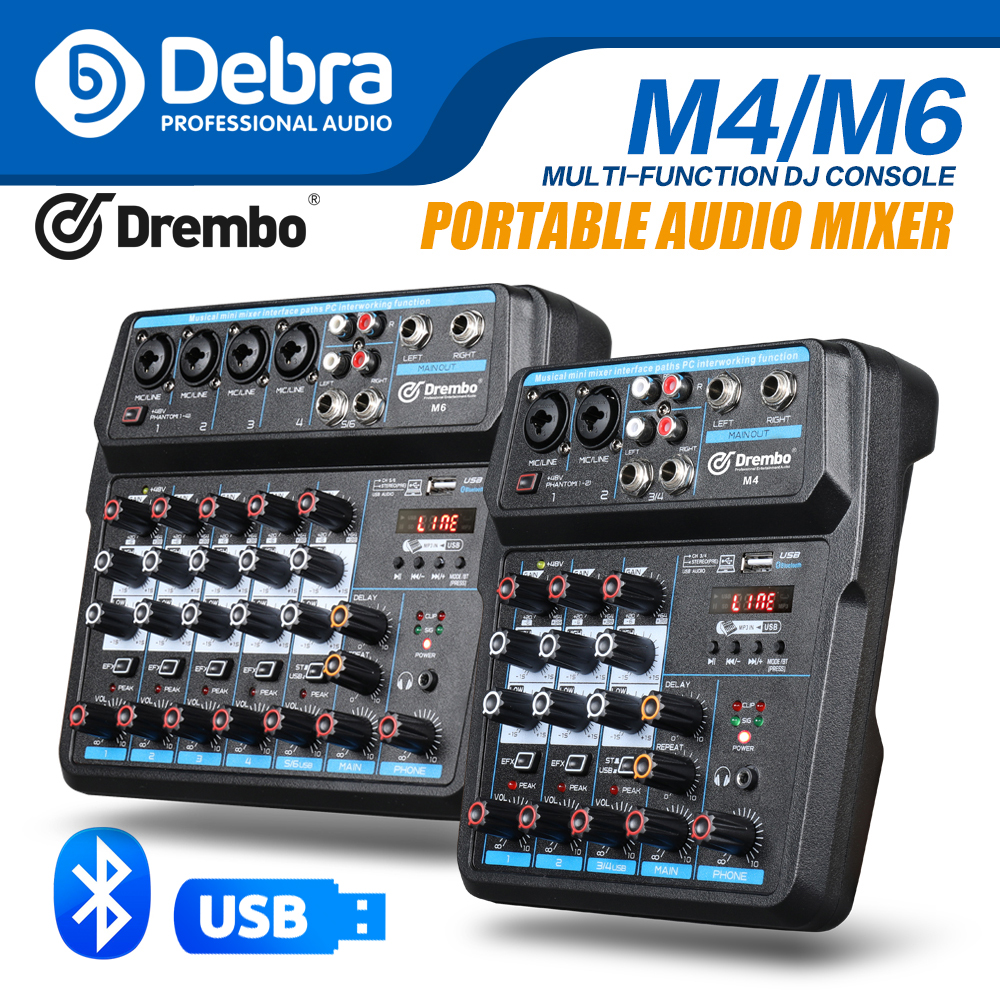 Debra  M-4/6 Protable Mini Mixer Audio DJ Console With Sound Card, USB, 48V Phantom Power For PC Recording Singing Webcast Party