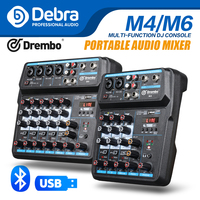 Debra M 4/6 Protable Mini Mixer Audio DJ Console with Sound Card, USB, 48V Phantom Power for PC Recording Singing Webcast Party