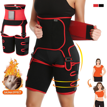 2 in 1 Waist Trainer and Thigh Trimmer Double Compression Belt Leg Support Sweat Effect Neoprene Workout Waist Thigh Trimmer
