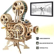 ROKR Vitascope 3D Wooden Puzzle Handheld Classic Film Projector Home Decor Assembly Model Toys for Children Adult Gifts LK601
