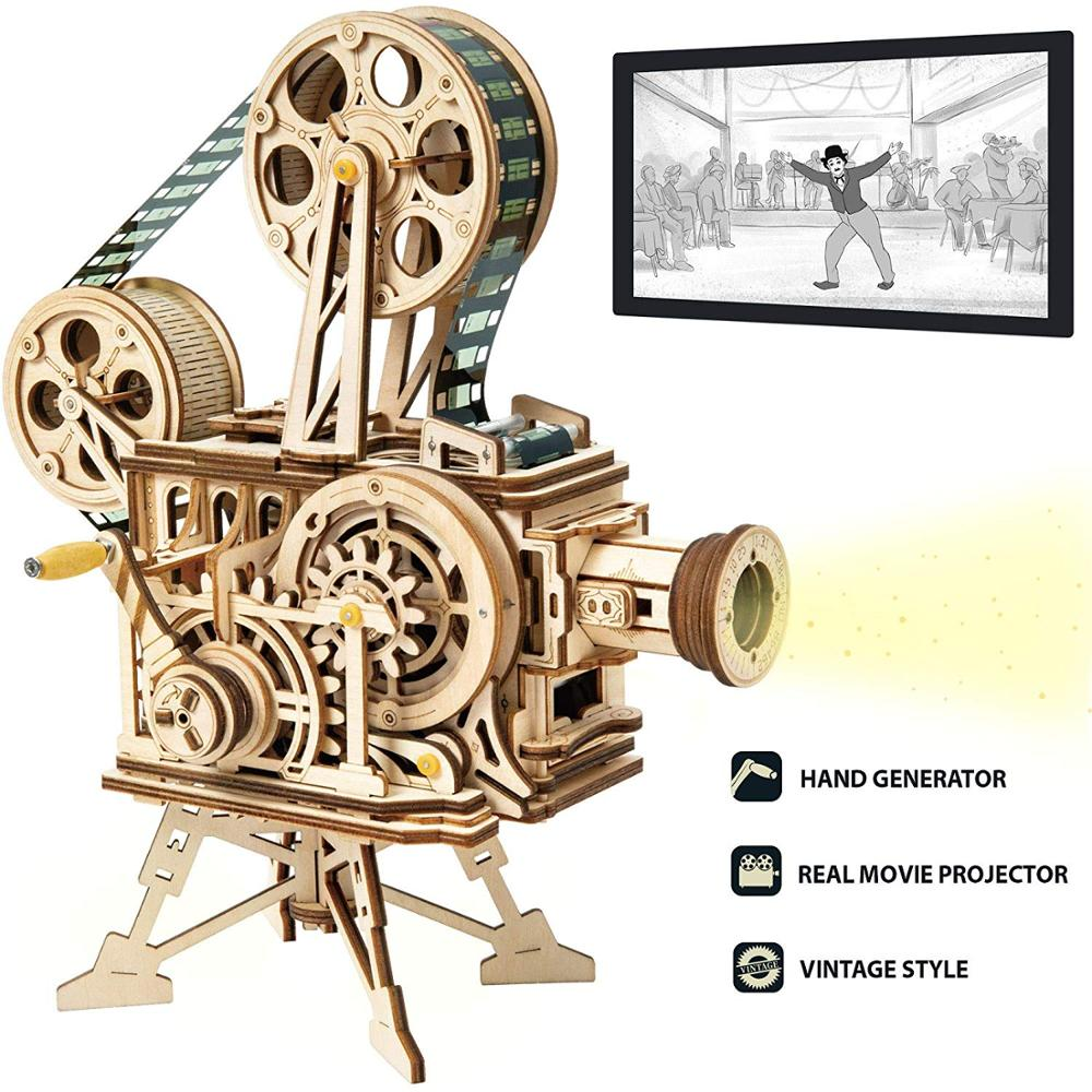 Rokr vitascope 3d 나무 퍼즐 핸드 헬드 클래식 필름 프로젝터 홈 장식 조립 모델 완구 어린이 성인 선물 lk601-에서퍼즐부터 완구 & 취미 의  그룹 1