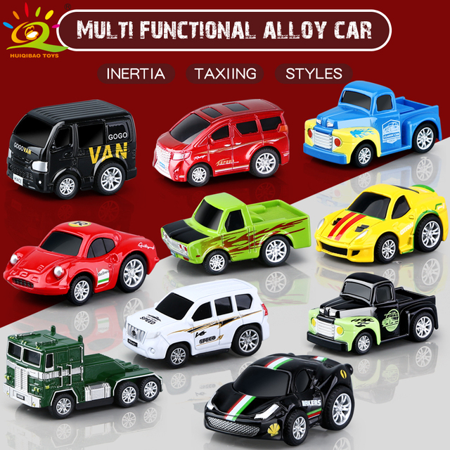 HUIQIBAO 1:64 Mini Diecast Alloy Car with Display box Pull Back Toy Racing Cars Model Vehicle Van Educational children Toys gift