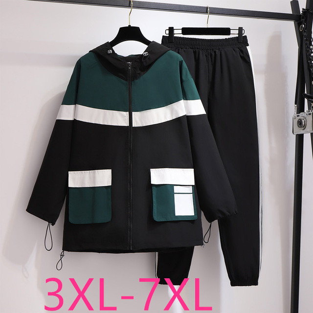 Spring Autumn New Plus Size Athletic Wear Sets For Women Large Loose Casual Coat And Pant Sports Suit Black 3XL 4XL 5XL 6XL 7XL