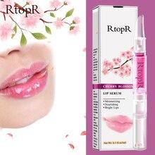 RtopR, вишневый цвет, сыворотка для губ, уменьшает тонкие линии губ, эссенция, маска для губ, сухая трещина, пилинг, восстанавливающий бальзам для губ Сакура, увлажняющий, 3 мл