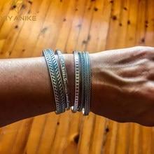 XIYANIKE – Bracelet en argent Sterling 925 pour hommes et femmes, Vintage, thaïlandais, feuille de plume, bambou tissé, manchette ouverte, cadeau